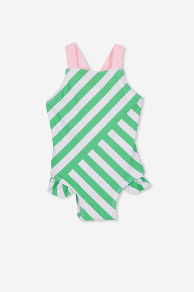 Belle One Piece, VANILLA AND NEW GREEN STRIPE