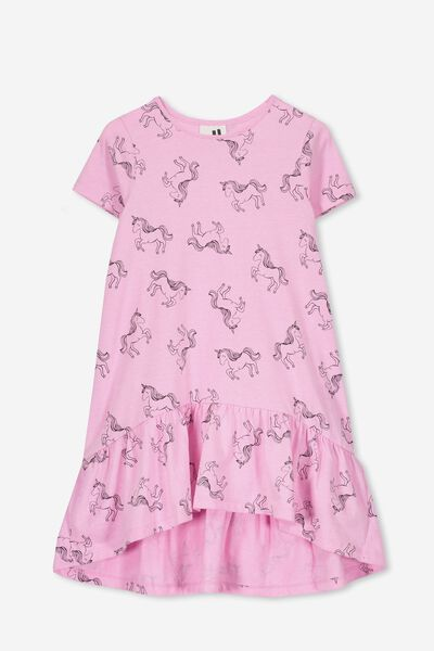 Joss Short Sleeve Dress, FUCHSIA MARLE/UNICORNS