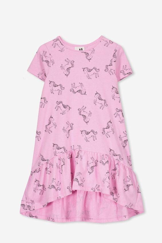 Joss Short Sleeve Dress, FUCHSIA MARLE/UNICORNS