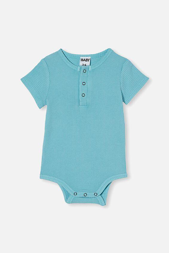 The Short Sleeve Waffle Bubbysuit, BLUE ICE