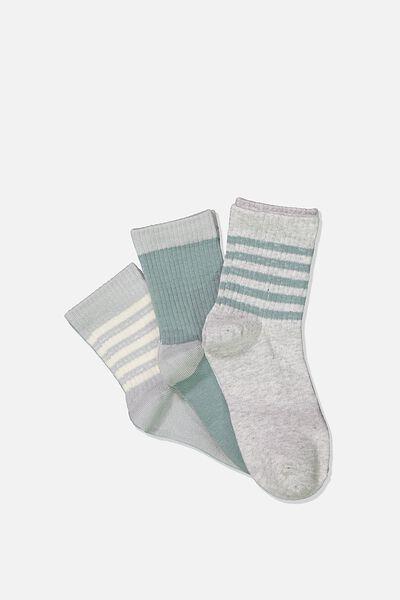 Kids 3 Pk Fashion Crew Socks, RUSTY AQUA STRIPE