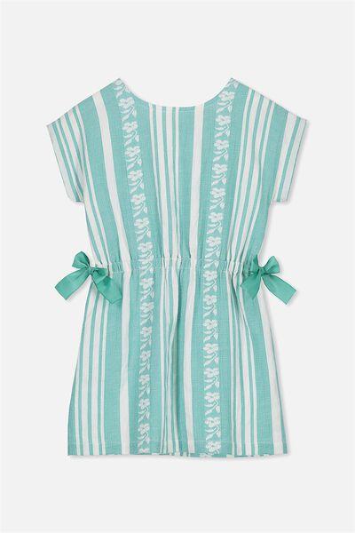 Belle Dress, GREEN/WHITE TEXTURED STRIPE
