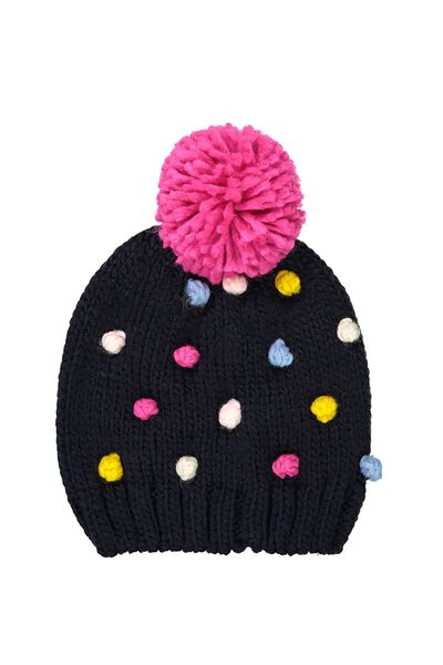 Winter Knit Beanie, MULTI POM POM