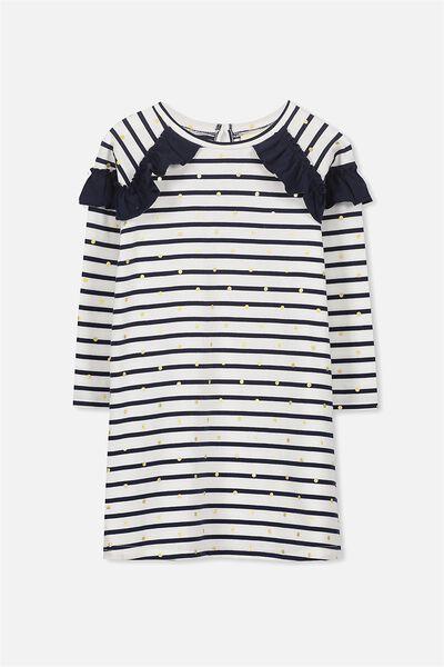 Saturday Long Sleeve Dress, PEACOAT STRIPE/GOLD SPOT