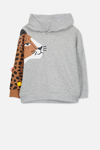 Scarlett Hoodie, LEOPARD ARM LIGHT GREY MARLE/DROP SHOULDER