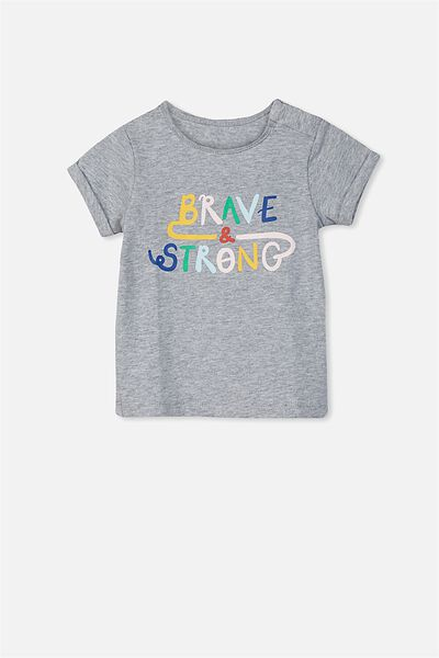 Ginger Ss Tee, LIGHT GREY MARLE/BRAVE STRONG