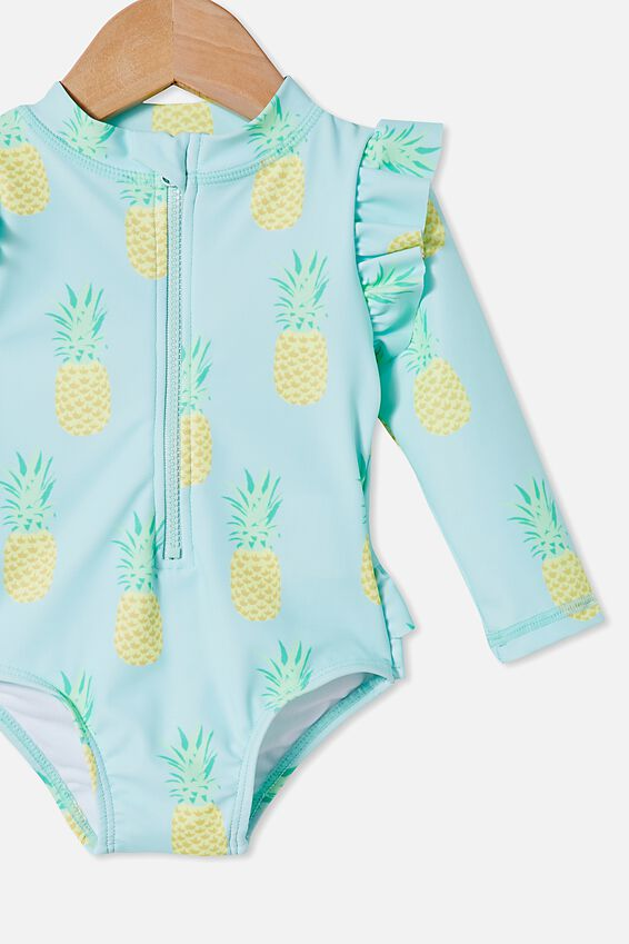 Baby Long Sleeve Swimsuit, DREAM BLUE/PINEAPPLES