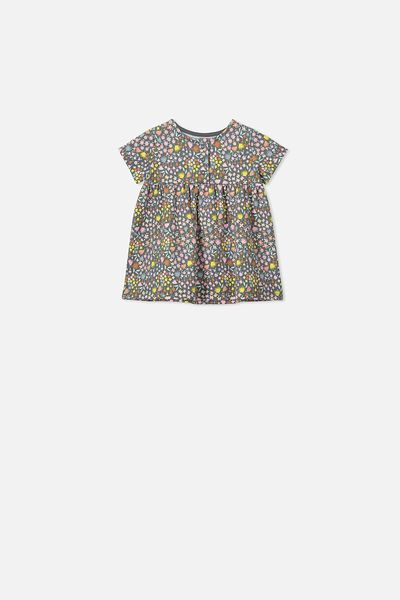 Milly Short Sleeve Dress, RABBIT GREY/MIA FLORAL