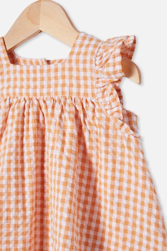 Annie Flutter Sleeve Dress, APRICOT SUN/MINI GINGHAM