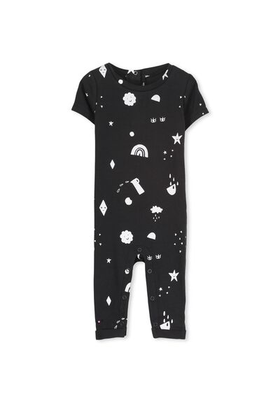 Mini Snug Fit Romper, PHANTOM/HAPPY LAND