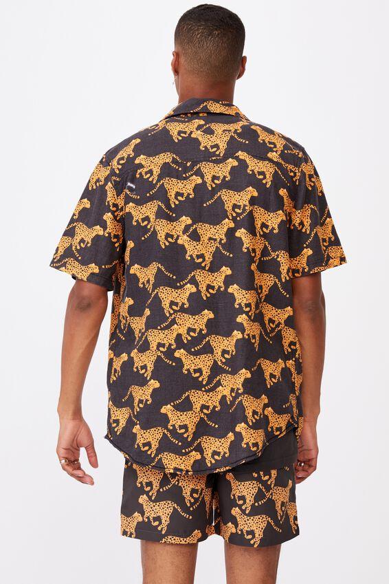 Kip&Co Mens Short Sleeve Shirt, LCN KIP CHEETAH