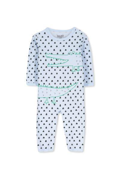 Mini Long Sleeve Snap Bodysuit, YOLO BLUE/CROC YARDAGE