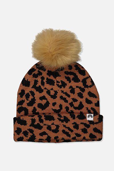 Winter Knit Beanie, LEOPARD POM POM