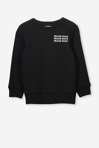 Lachy Crew Jumper, BLACK/SKATE DAYS