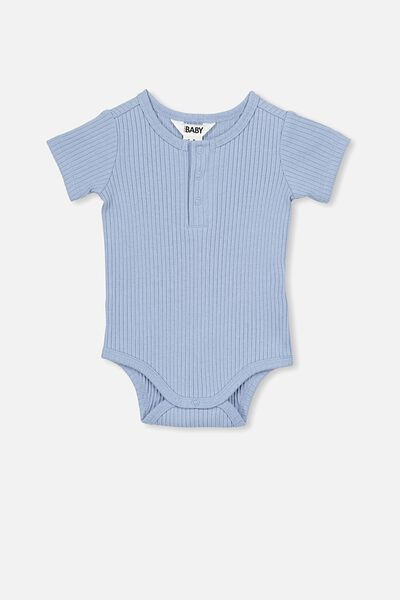 The Short Sleeve Button Bubbysuit, DUSTY BLUE