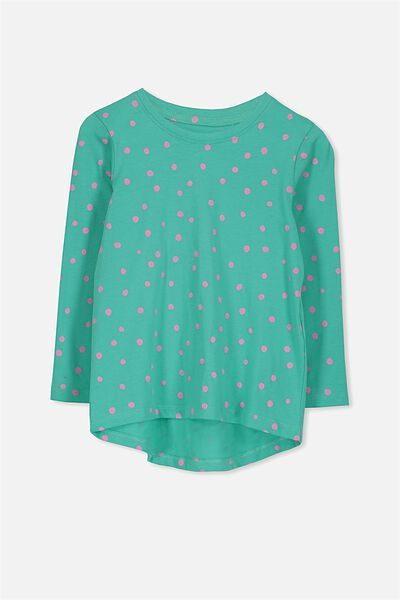 Penelope Long Sleeve Curved Hem, AQUA GREEN/SPOT