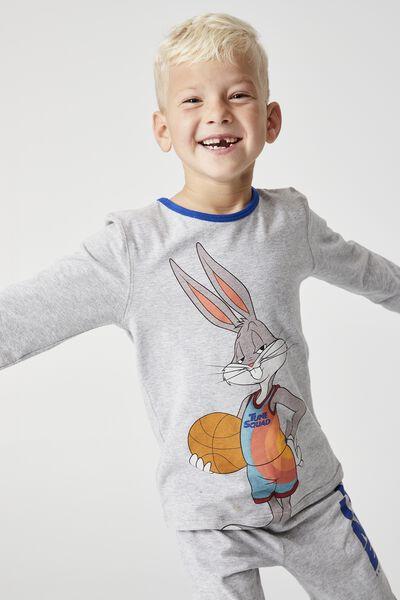 Orlando Long Sleeve Pyjama Set Licensed, LCN WB TUNE SQUAD BUGS BUNNY SUMMER GREY MARL