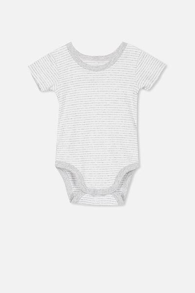 Newborn Short Sleeve Bubbysuit, CLOUD MARLE STRIPE