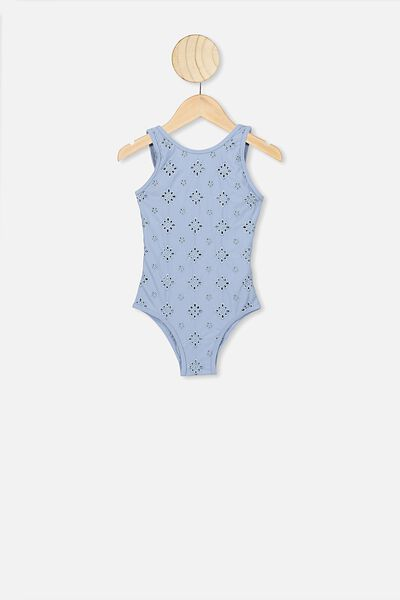 Lisette One Piece, DUSTY BLUE BRODERIE