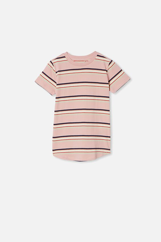 The Cruz Short Sleeve Long Line Tee, ZEPHYR FASHION STRIPE