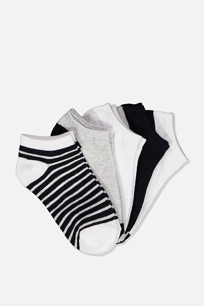 Kids 5Pk Ankle Sock, NAVY/WHITE/GREY
