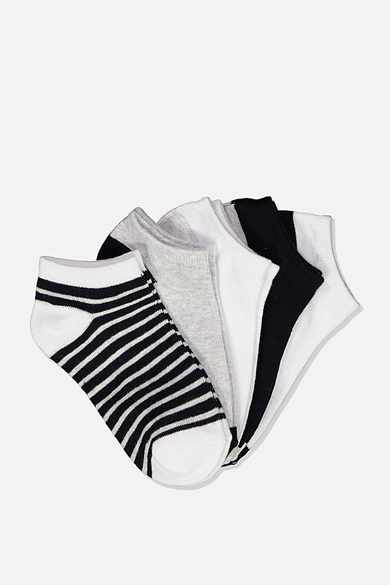Kids 5Pk Ankle Socks, NAVY WHITE GREY