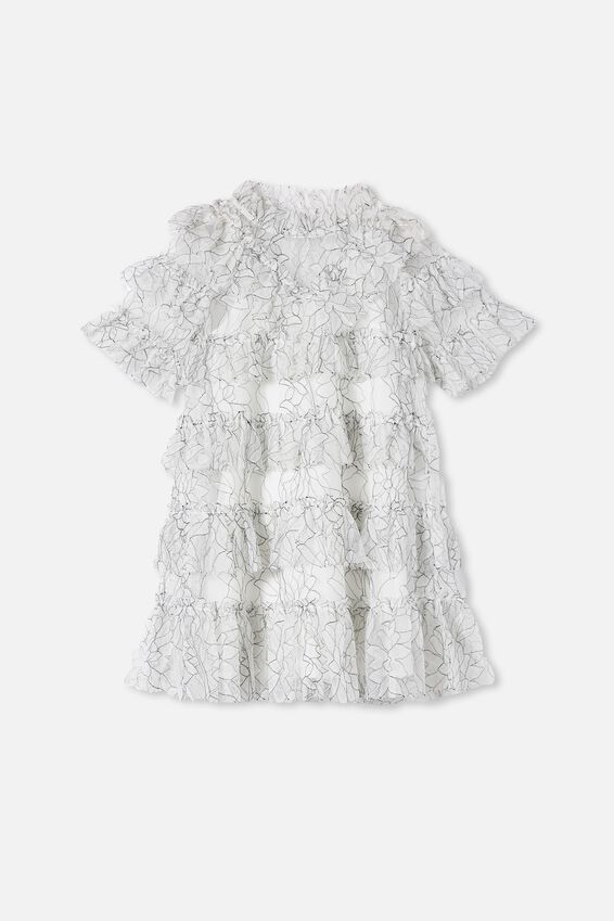 alice McCALL Short Sleeve Ruffle Dress, VANILLA