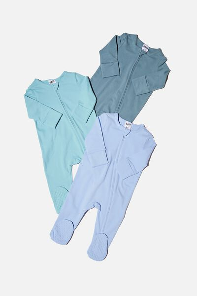 3 Pack Long Sleeve Zip Romper - Usa, DEEP POOL/BLUE ICE/DUSK BLUE