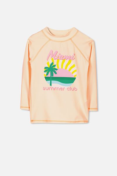 Hamilton Long Sleeve Rash Vest, PALE PEACH/MIAMI SUMMER CLUB