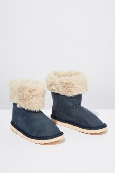 Faux Fur Foldover, NAVY