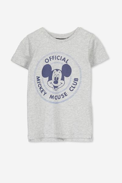 Short Sleeve License Tee, OFFICIAL MICKEY MOUSE CLUB/LIGHT GREY MARLE