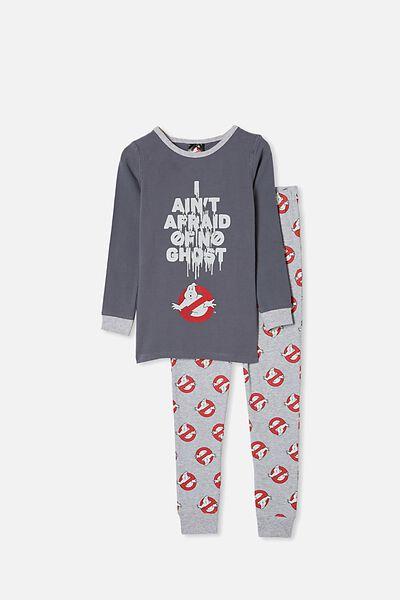 Ethan Long Sleeve Pyjama Set, LCN SON RABBIT GREY/I AIN T AFRAID OF NO GHOS