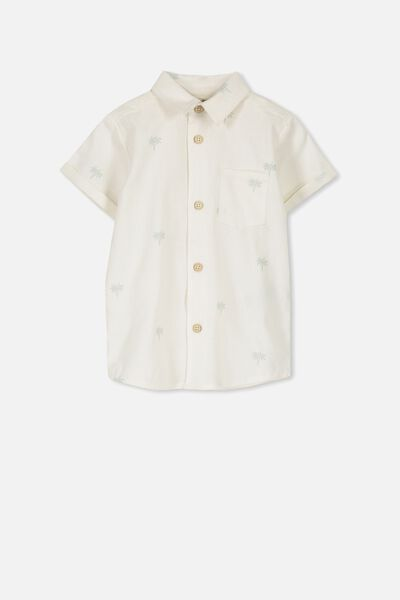 Zac Short Sleeve Shirt, VANILLA/MINI PALM