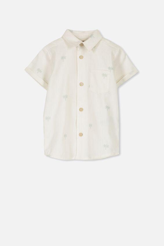 Zac Short Sleeve Shirt, VANILLA/MINI PALM