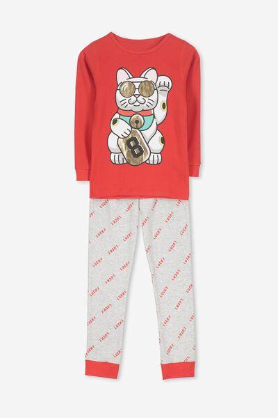 Charlie 1 Long Sleeve Pyjama Set, LUCKY 8 CAT
