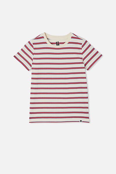 Core Short Sleeve Tee, RETRO WHITE / LUCKY RED / PETTY BLUE STRIPE