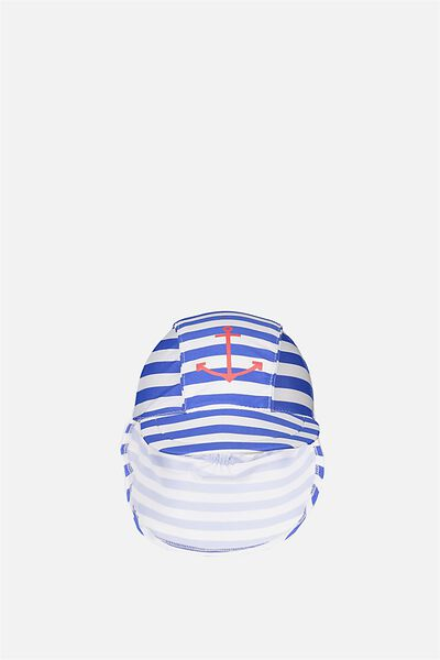 Newborn Sonny Swim Hat, FRENCH BLUE STRIPE/CAPTAIN