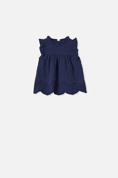 Jan Flutter Sleeve Dress, INDIGO