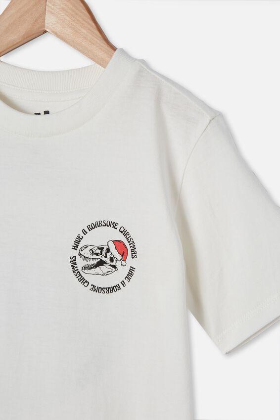 Max Skater Short Sleeve Tee, RETRO WHITE/SKELETON ROARSOME