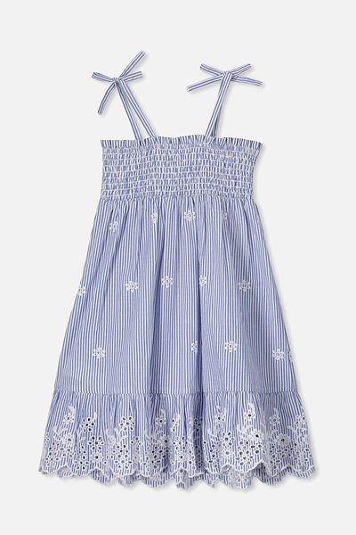 Lily Mae Sleeveless Dress, BLUE STRIPE/FLORAL