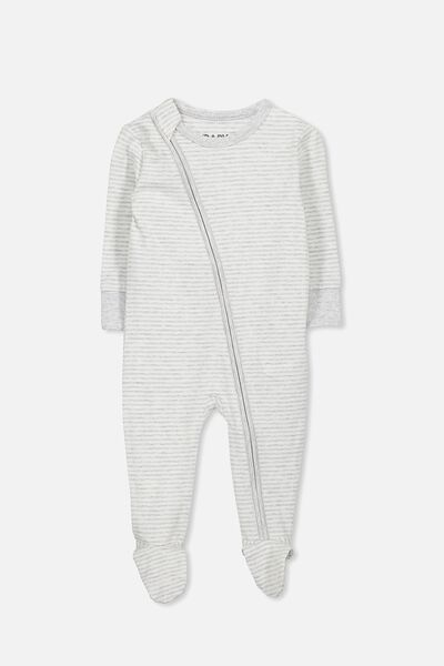 Mini Zip Footed Romper, CLOUD MARLE/VANILLA STRIPE