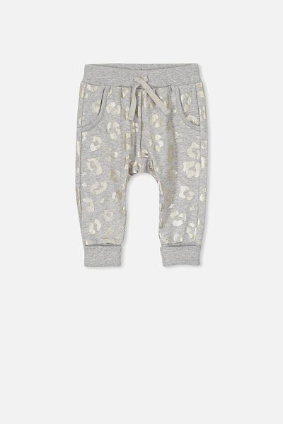 Shelby Trackpant, LT GREY MARLE/ANIMAL PRINT