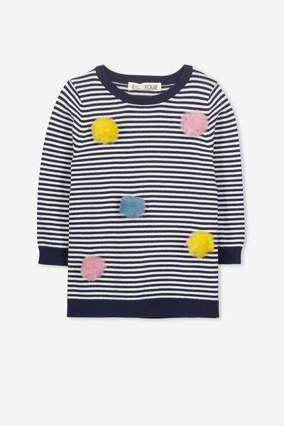 Paloma Knit Tunic, PEACOAT/VANILLA STRIPE/POM POMS