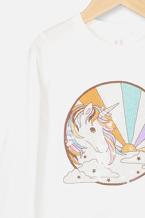 Stevie Long Sleeve Embellished Tee, VANILLA/SEVENTIES UNICORN