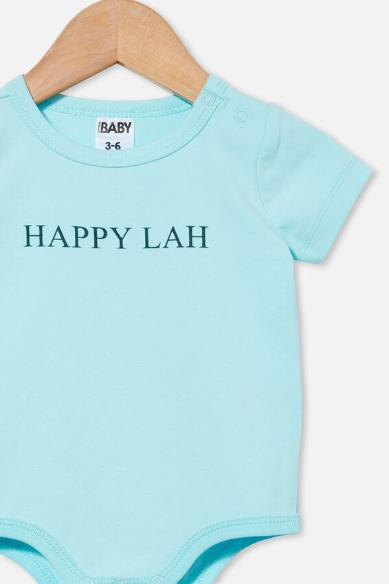 The Short Sleeve Bubbysuit, DREAM BLUE/HAPPY LAH