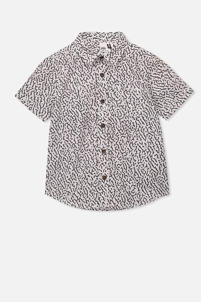 Resort Short Sleeve Shirt, BLACK TRIBAL