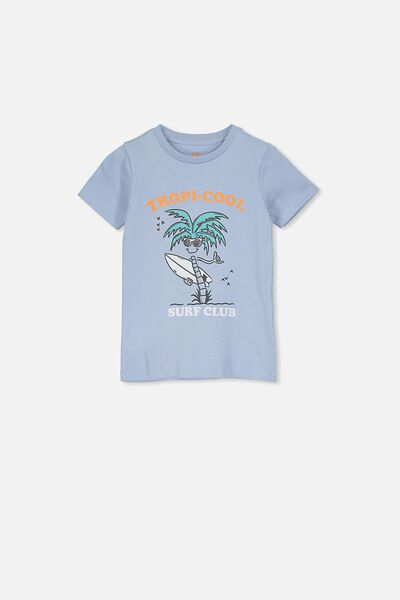 Max Short Sleeve Tee, DUSTY BLUE/TROPICAL COOL