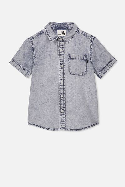 Resort Short Sleeve Shirt, SNOW WASH DENIM