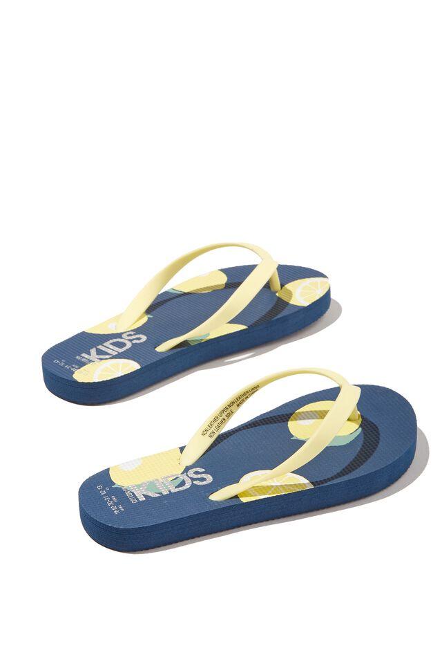 Printed Flip Flop, LEMON PETTY BLUE