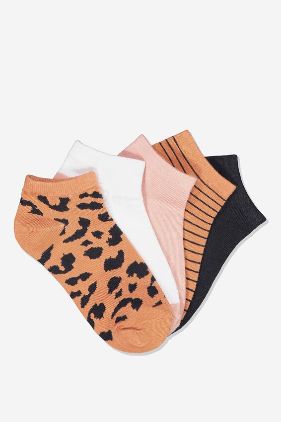 Kids 5Pk Ankle Sock, BARELY PINK LEOPARD
